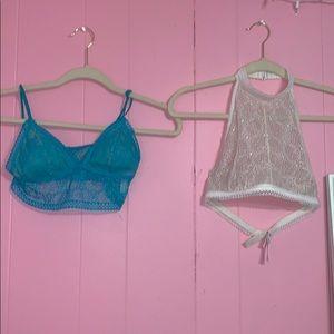 Victoria Secret Blue and off white lace bralettes